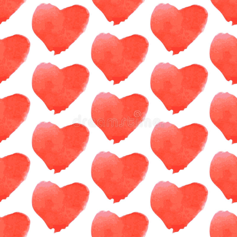 Aquarell heart, vector vintage seamless pattern. Eps 10 royalty free illustration