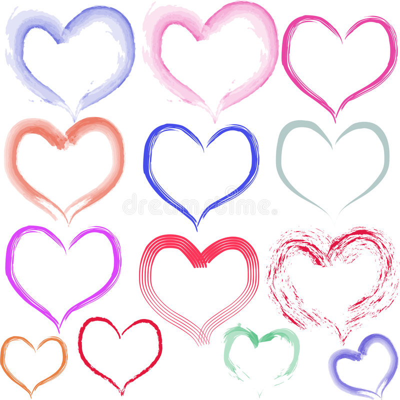 Aquarell Hearts. In different colors. Available as Illustrator-File (Version CS 3 vector illustration