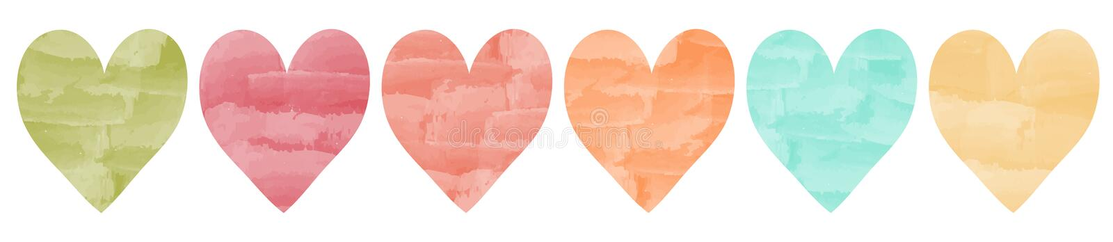 Aquarell hearts different colors. Pretty vector aquarell hearts collection with details in fine colors royalty free illustration