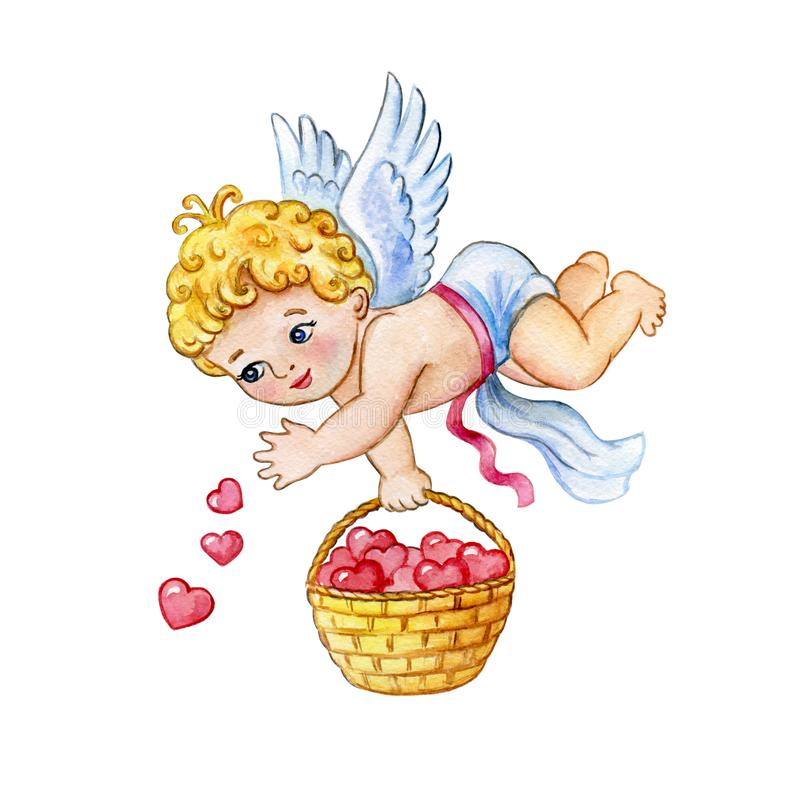 Aquarell-Heilig-Valentinsgruß-Grußkartenschablone für Netz und Druck Netter kleiner Amor lässt Herzen vom Weidenkorb fallen Genie lizenzfreie abbildung