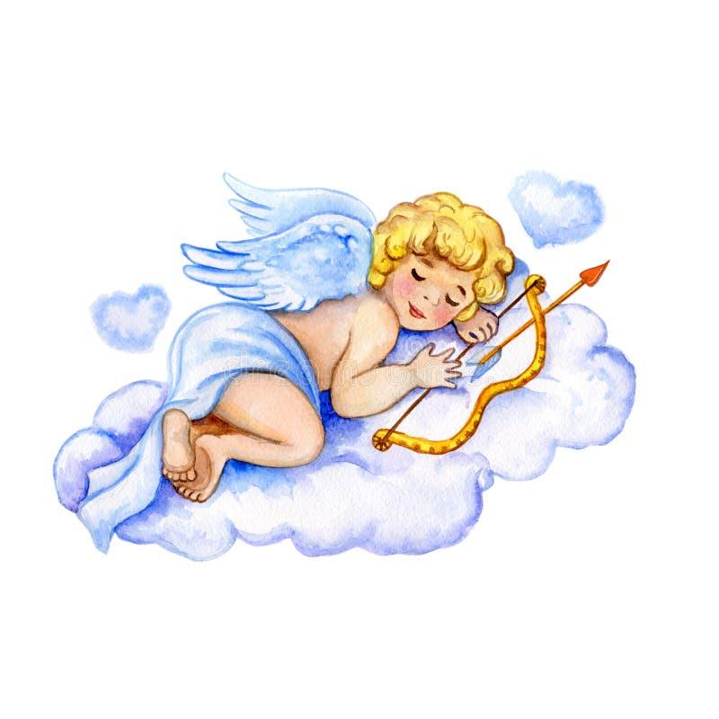 Aquarell-Heilig-Valentinsgruß-Kartenschablone Netter kleiner Amor, der auf leichter Wolke mit den Herzen halten Pfeil und Bogen s lizenzfreie abbildung
