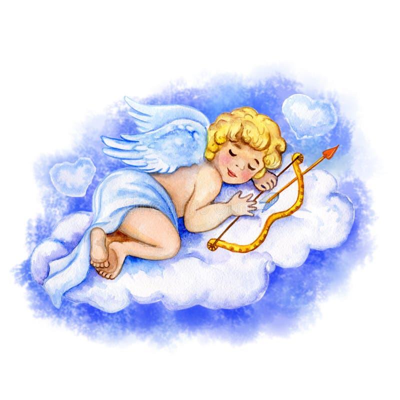 Aquarell-Heilig-Valentinsgruß-Kartenschablone Netter kleiner Amor, der auf leichter Wolke mit den Herzen halten Pfeil und Bogen s stock abbildung