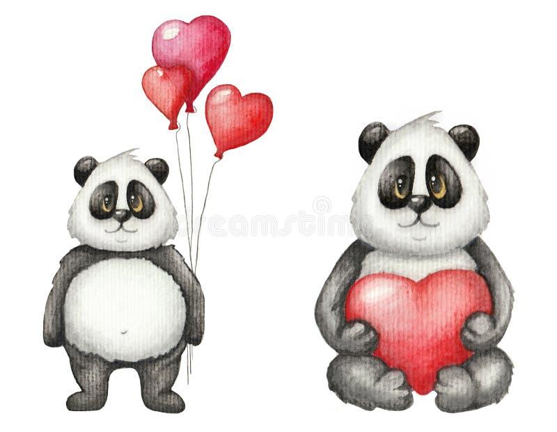 Aquarell-Heilig-Valentinsgruß ` s Tagesnette Karte mit Panda lizenzfreie abbildung