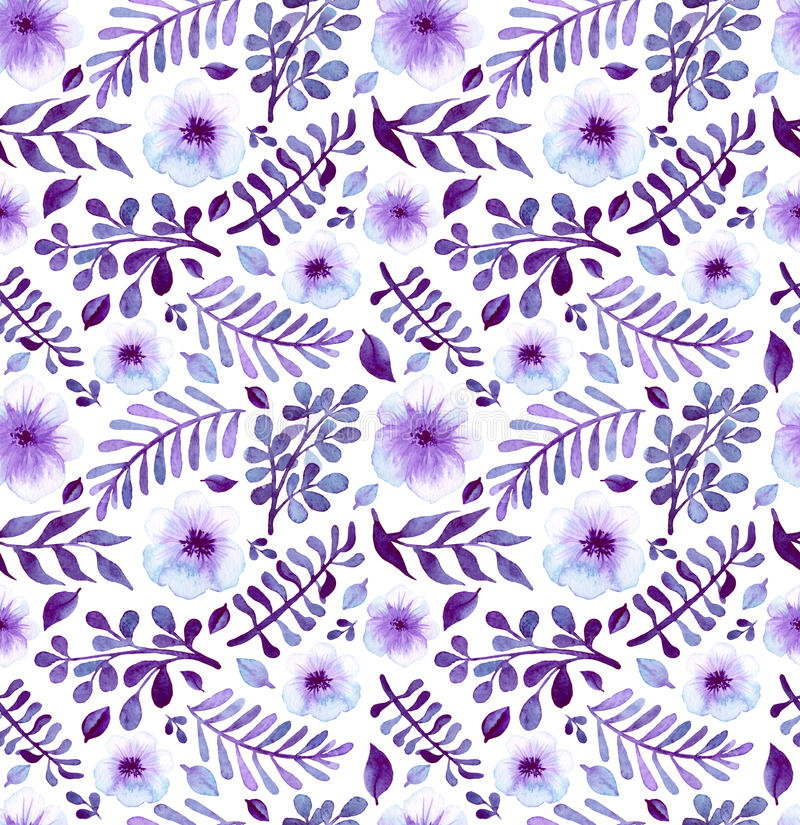 Aquarell-helles Violet Flowers And Leaves Seamless-Muster stock abbildung
