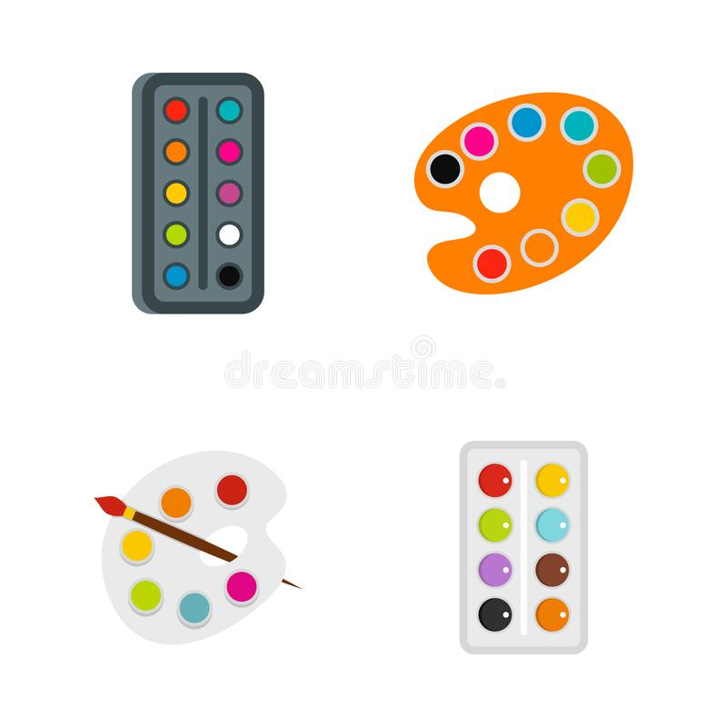 Aquarell icon set, flat style. Aquarell icon set. Flat set of aquarell vector icons for web design isolated on white background vector illustration