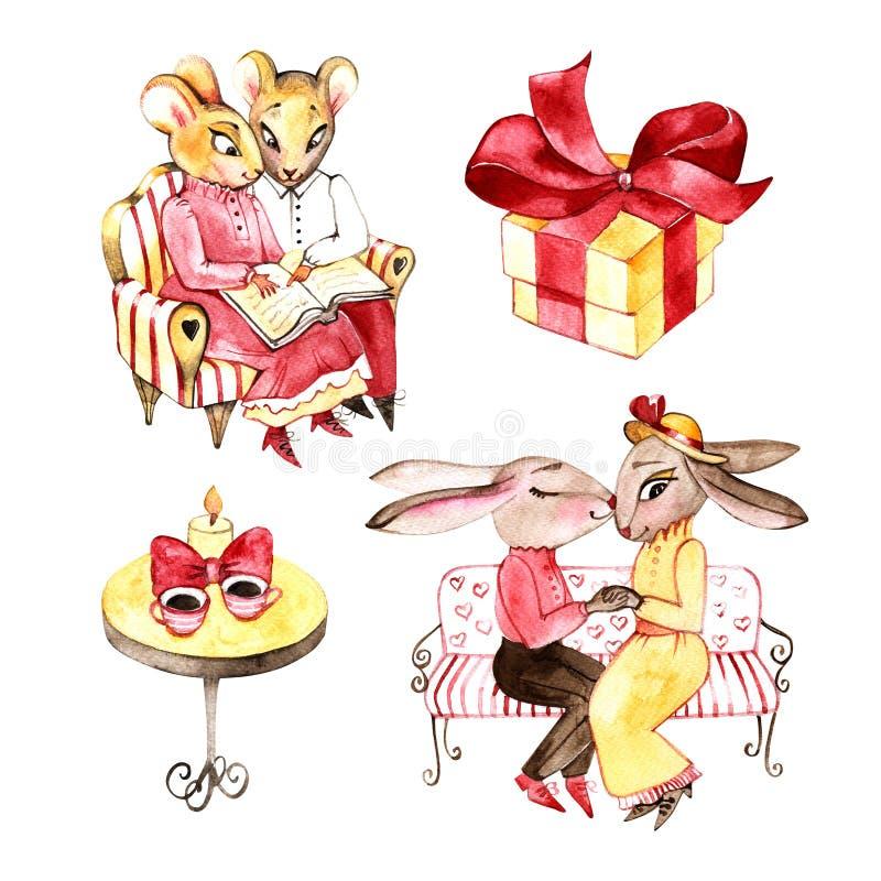 Aquarell-Illustration - liebende Kaninchen und Mäuse auf dem Café Valentinsgrußillustration, lizenzfreie abbildung