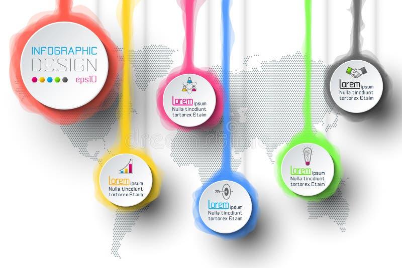 Aquarell infographic mit der Weltkarte lizenzfreie abbildung