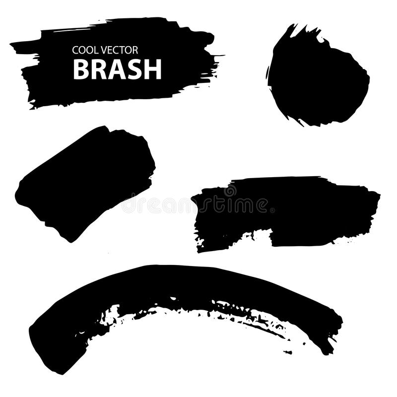 Aquarell, Ink splash. Black and white vector collection. Brush royalty free illustration