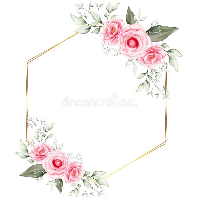 Aquarell-kardiert Blumenrahmen-Hochzeits-Einladung Schablone mit geometrischem goldenem Rahmen Handzeichnungs-Blume und Niederlas stock abbildung