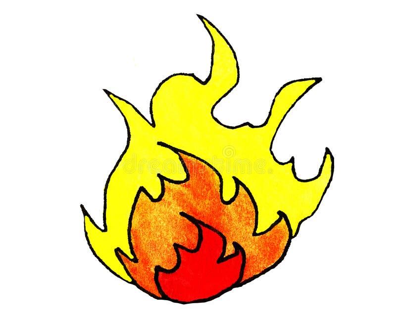 Aquarell-Karikatur-Flamme lizenzfreie abbildung
