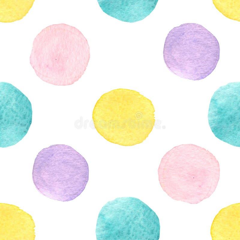 Aquarell kreist nahtloses Muster ein ?bergeben Sie gezogenen nahtlosen abstrakten Hintergrund f?r Druck auf Gewebe oder Packpapie lizenzfreie abbildung