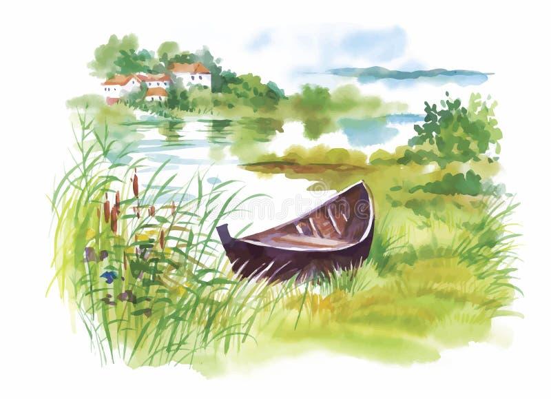 Aquarell-ländliche Landschaft mit Bootsvektorillustration stock abbildung
