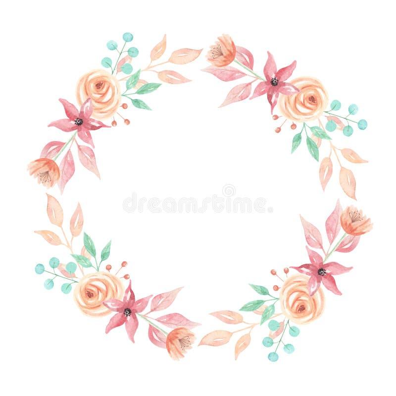 Aquarell-Laub-Blumenbeeren-Pfirsich-Sommer-Blumen-Blatt-lila Kranz-Girlande vektor abbildung