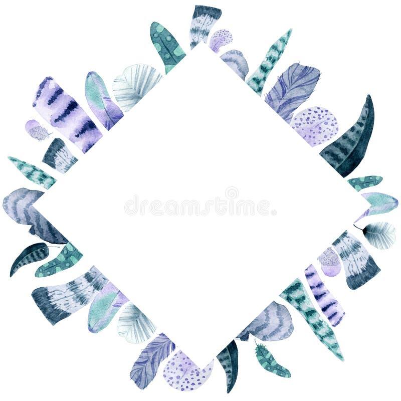 Aquarell lokalisierter Federrautenrahmen lizenzfreie abbildung