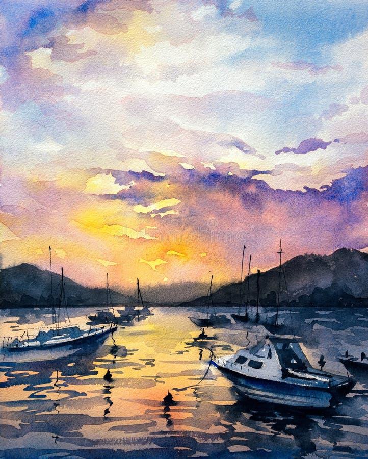 Aquarell-Malerei - Boote lizenzfreie abbildung