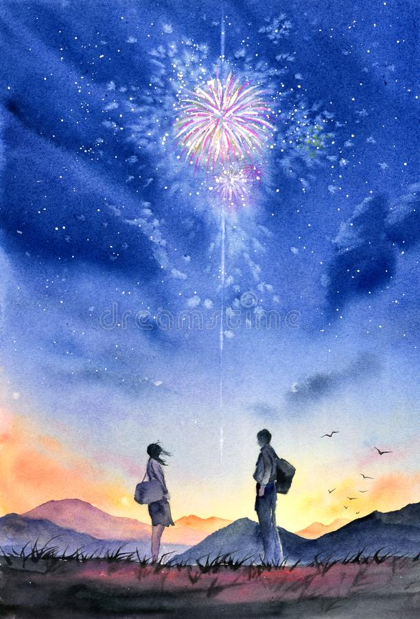 Aquarell-Malerei - Paar unter Feuerwerks-nächtlichem Himmel vektor abbildung