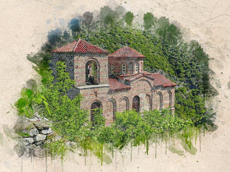 Aquarell malte alte Kirche, Assens Festung, Bulgarien lizenzfreie abbildung