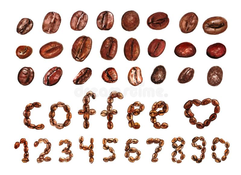 Aquarell malte Aufschriftkaffee, Herz, Zahlen von den Kaffeebohnen und einen Satz von 24 großen Gegenständen, die auf weißem back vektor abbildung