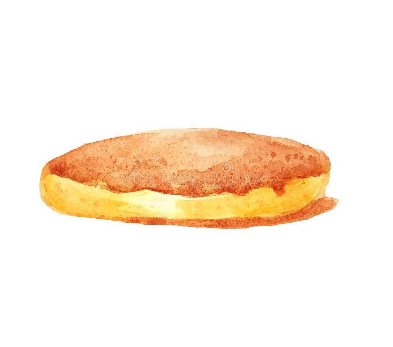 Aquarell man lokalisierte einzelnen Pfannkuchen, Schwammtorte, Keks, Käsekuchen stock abbildung