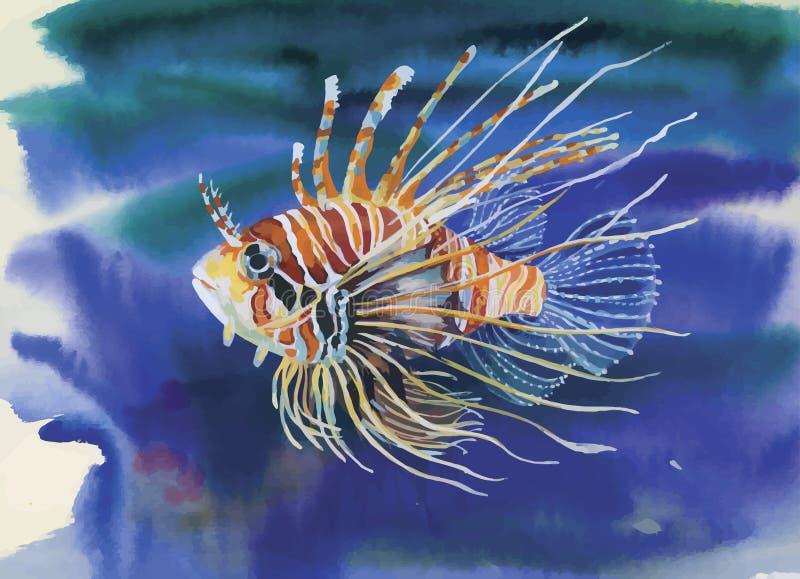 Aquarell-Meeresflora und -fauna-Hintergrund mit tropischen Fischen lizenzfreie abbildung
