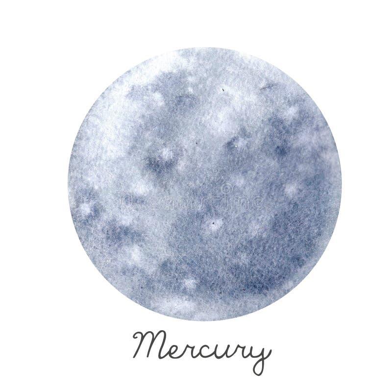 Aquarell-Mercury-Planetenillustration stock abbildung