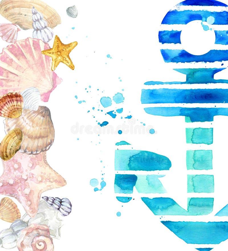 Aquarell-Muschel Muschel auf Aquarellblauhintergrund stock abbildung