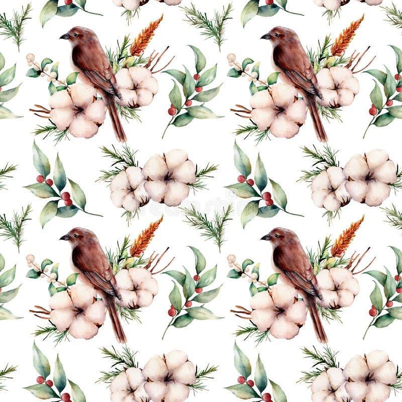 Aquarell nahtloses großes patttern mit Vogel und Baumwolle Handgemalte Blumenillustration mit weißer Blume, Snowberries lizenzfreie abbildung
