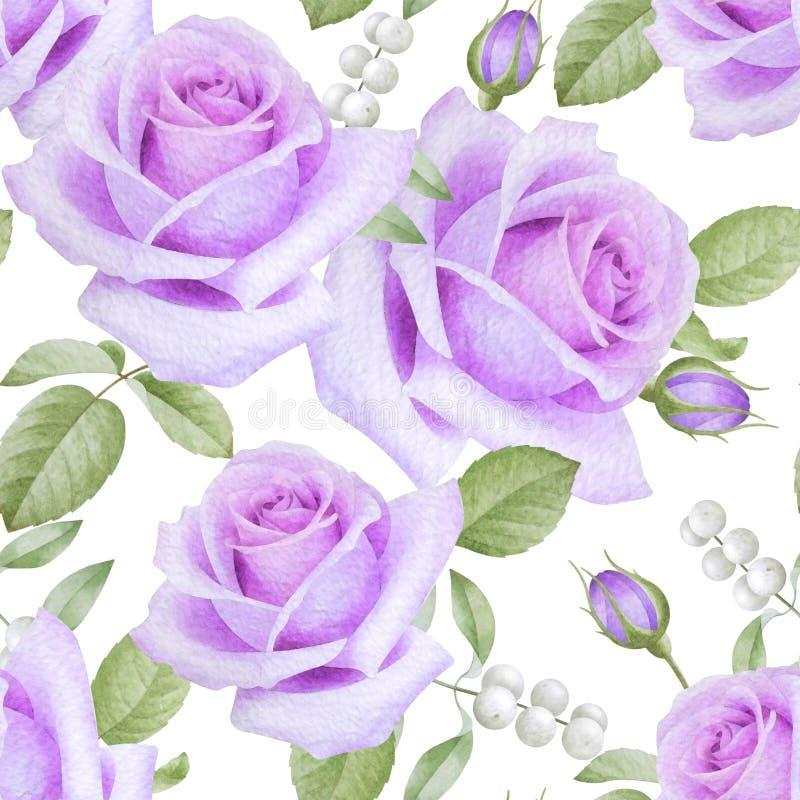 Aquarell-nahtloses Muster mit Rosen lizenzfreie abbildung