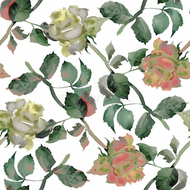Aquarell-nahtloses Muster mit Rosen Hintergrund für Webseiten, Heiratseinladungen, speichern die Datumskarten stock abbildung