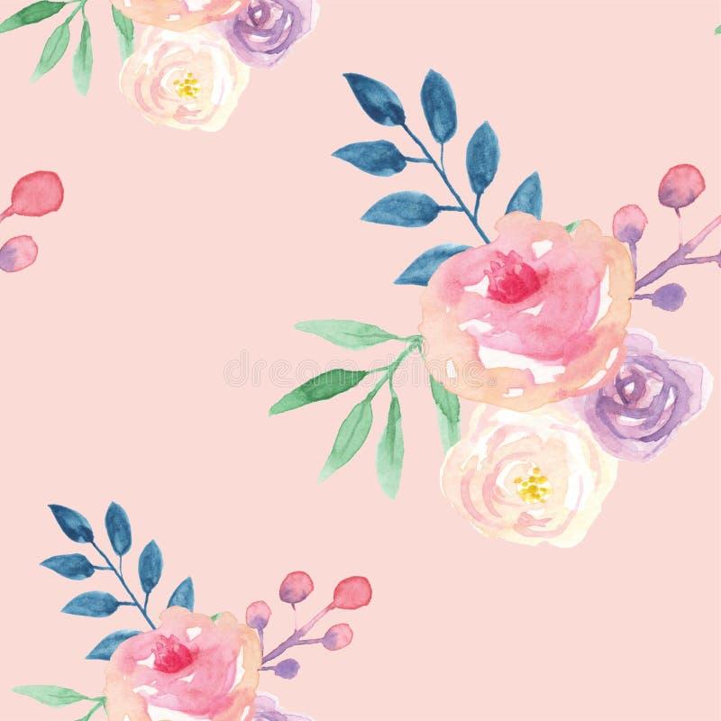 Aquarell-nahtloses Muster verlässt purpurroten rosa Blumenblumen-Frühlings-Sommer stock abbildung