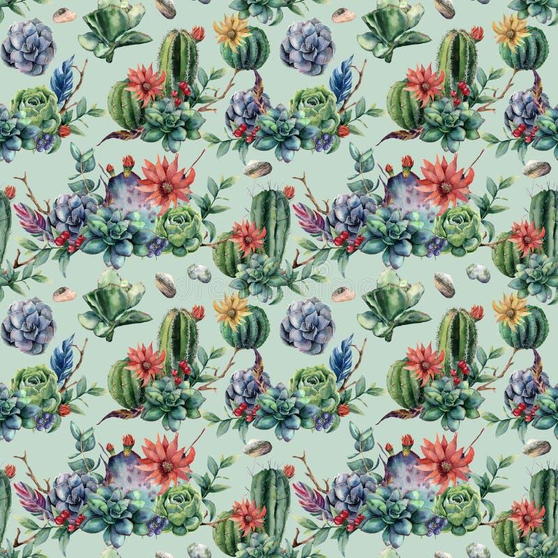 Aquarell nahtloses patttern mit Kakteen und vielen Blumen Handgemalter Säulenkaktus, Succulent, Beeren, Niederlassung und Blätter vektor abbildung