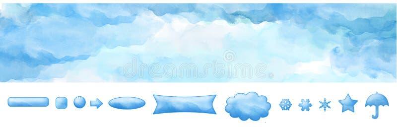 Aquarell-Netz-Fahnen-blauer Himmel und Knöpfe vektor abbildung