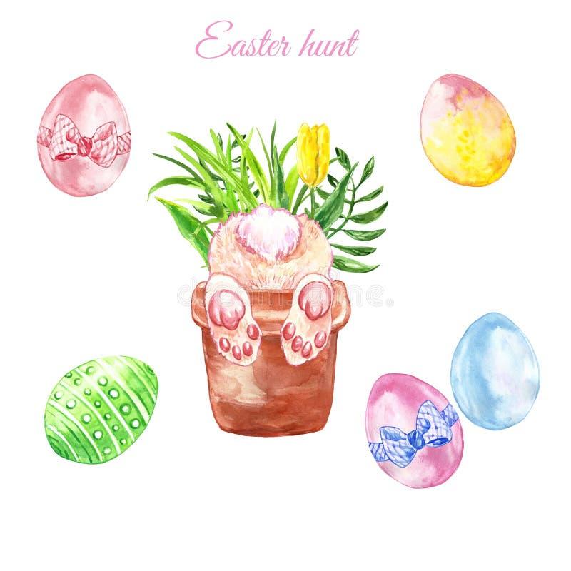 Aquarell-Ostern-Jagdplakat mit entzückendem neugierigem Häschenblumentopf und farbigen den Eiern, lokalisiert lizenzfreie abbildung