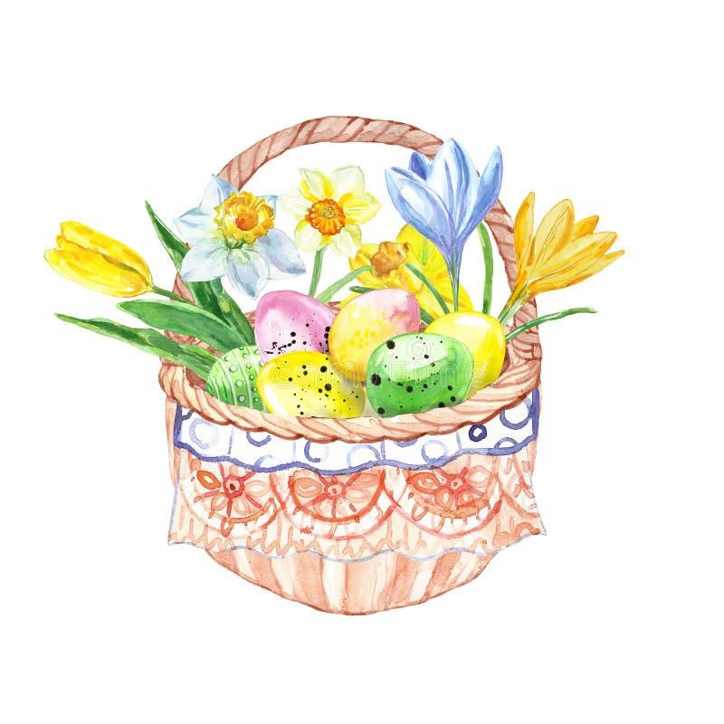 Aquarell-Ostern-Korb mit bunten Blumen des handgemalten Frühlinges und farbigen Eiern Glückliche Ostern-Karte mit dekorativen E stock abbildung