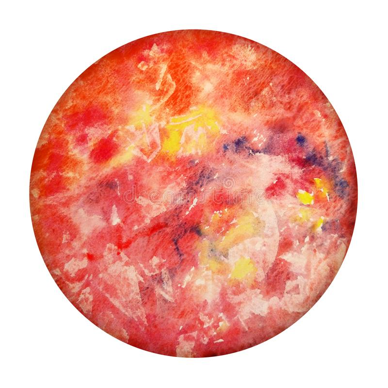 Aquarell-Planet Mercury On White Background Hand gezeichnete rote Kugel lokalisiert Abstrakter runder Bereich stock abbildung