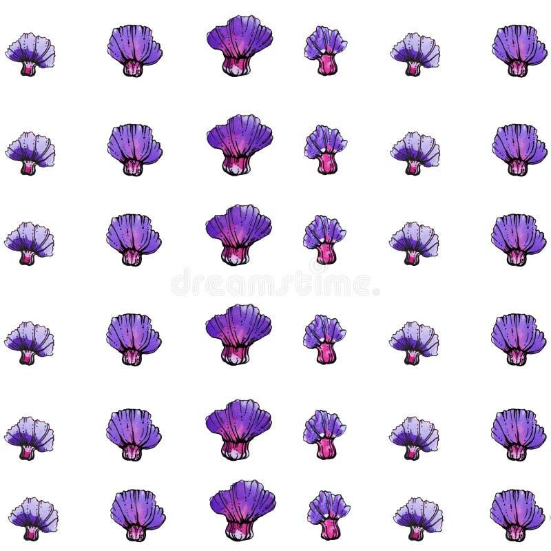 Aquarell-purpurrotes Blumen-Muster, weißer Hintergrund stock abbildung