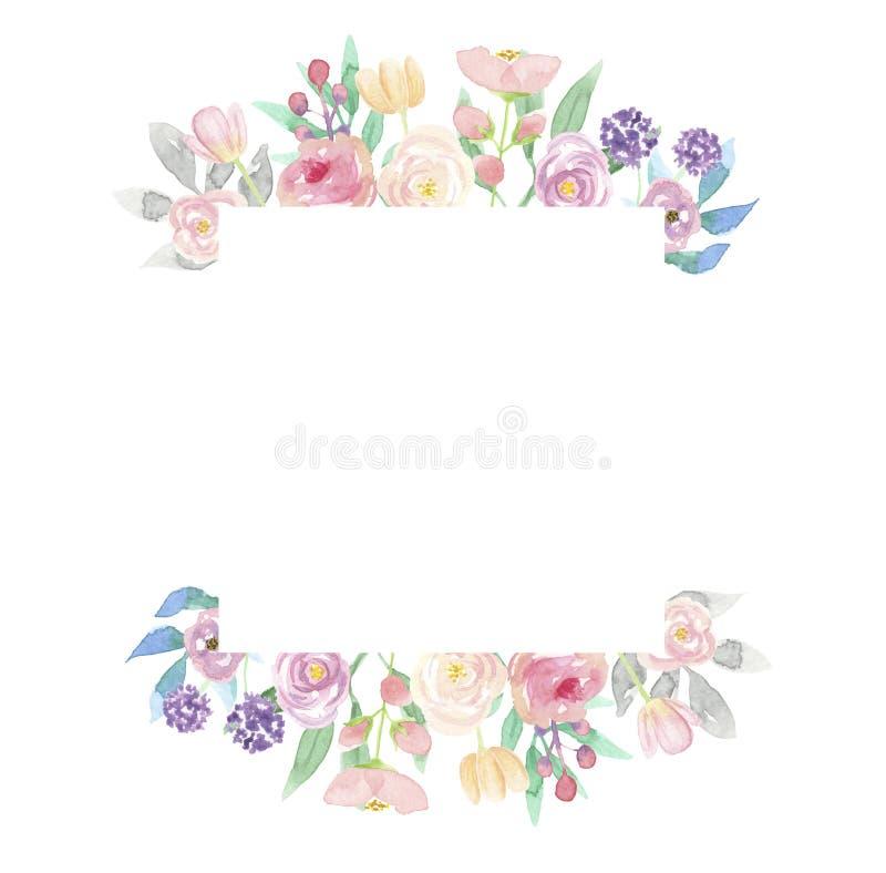 Aquarell-Quadrat-Kranz-Sommer-Rahmen-Blumen-Anordnungs-Rosa ...