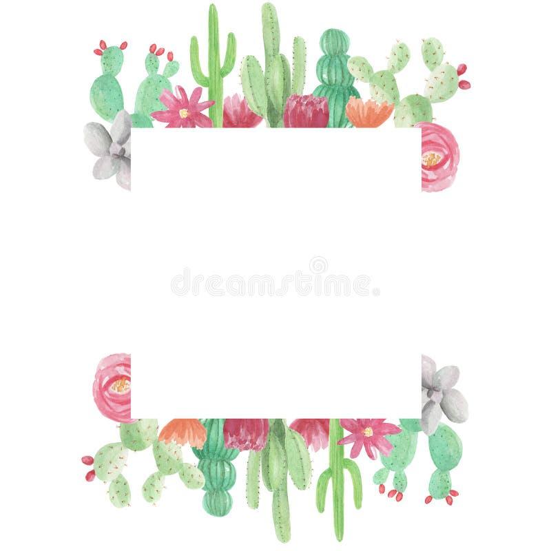 Aquarell-quadratische Kaktus-Kakteen Succulents-grüner Rahmen ...