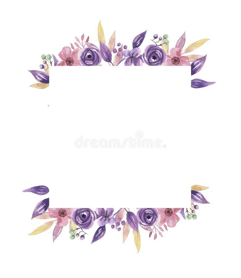 Aquarell-Rahmen-lila Kranz-Sommer-purpurrotes Blumen-Anordnungs-Rosa ...