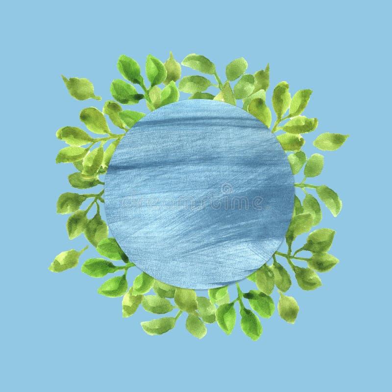 Aquarell-Rahmen mit grünen Blättern lizenzfreies stockbild