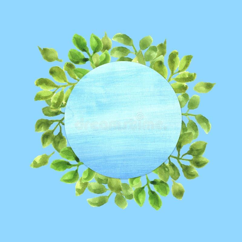 Aquarell-Rahmen mit grünen Blättern lizenzfreie stockfotografie