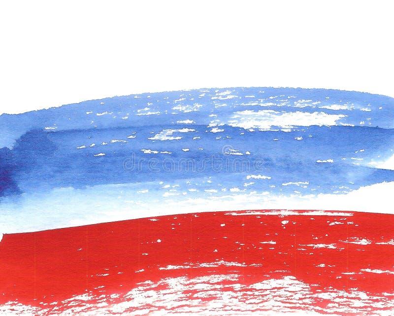 Aquarell-russische Flagge, abstrakte Fahne von Russland lizenzfreie abbildung