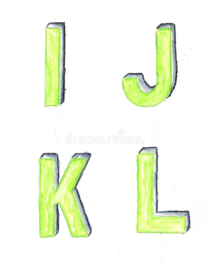Aquarell-Schablonen-Buchstaben lizenzfreie stockfotografie