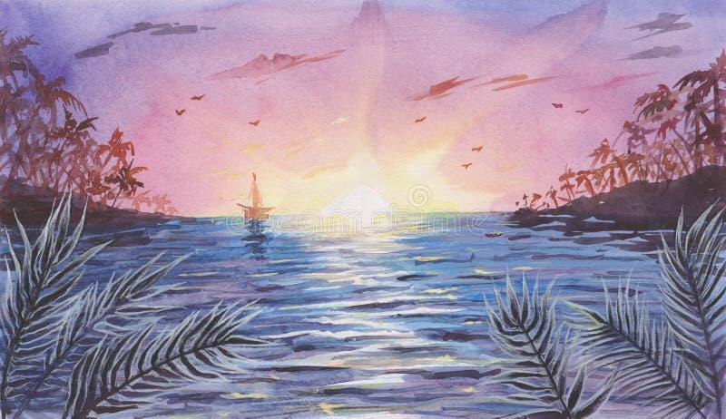 Aquarell-See-/Ozean-Landschaft mit Sonnenuntergang/Sonnenaufgang lizenzfreie stockfotografie