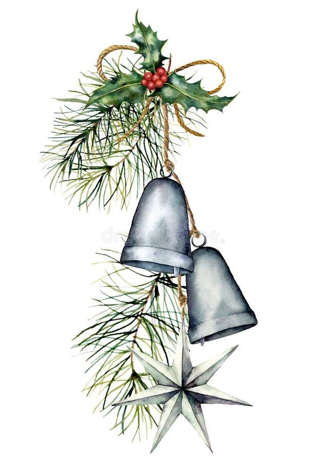 Aquarell-silberne Weihnachtsglockengirlande mit Feiertagsdekor Handgemalte traditionelle Glocken mit Stechpalme, Stern und vektor abbildung