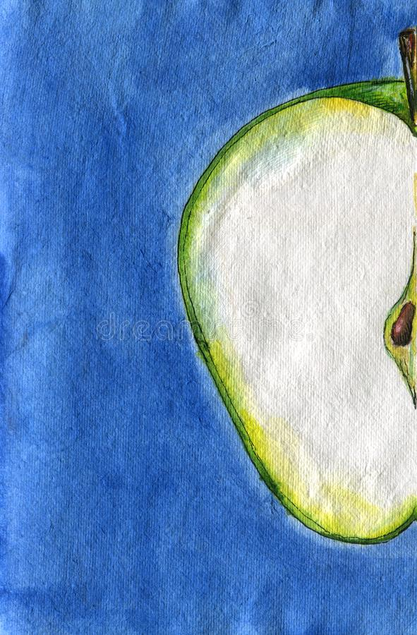 Aquarell-Skizze Hälfte des frischen grünen Apfels auf blauem Hintergrund lizenzfreie stockbilder