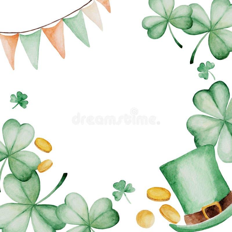 Aquarell-St- Patrick` s Tagesrahmen Grüner Hintergrund für Auslegung Für Design, Druck oder Hintergrund stock abbildung