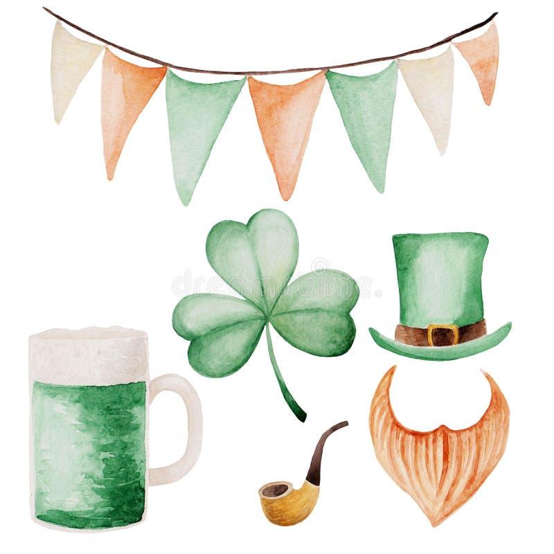 Aquarell-St- Patrick` s Tagessatz Grüner Hintergrund für Auslegung Für Design, Druck oder Hintergrund lizenzfreie abbildung