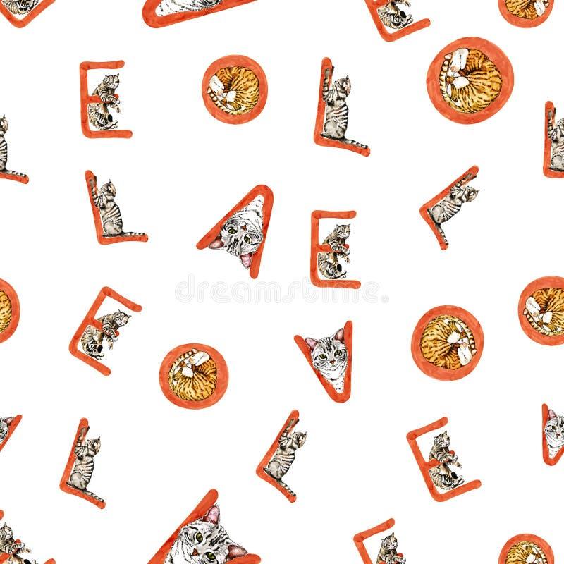 Aquarell-St.-Valentinsgruß ` s Tagesnahtloses Muster mit Liebesbrief stock abbildung