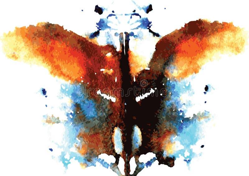 Aquarell symmetrischer Rorschach-Fleck stock abbildung